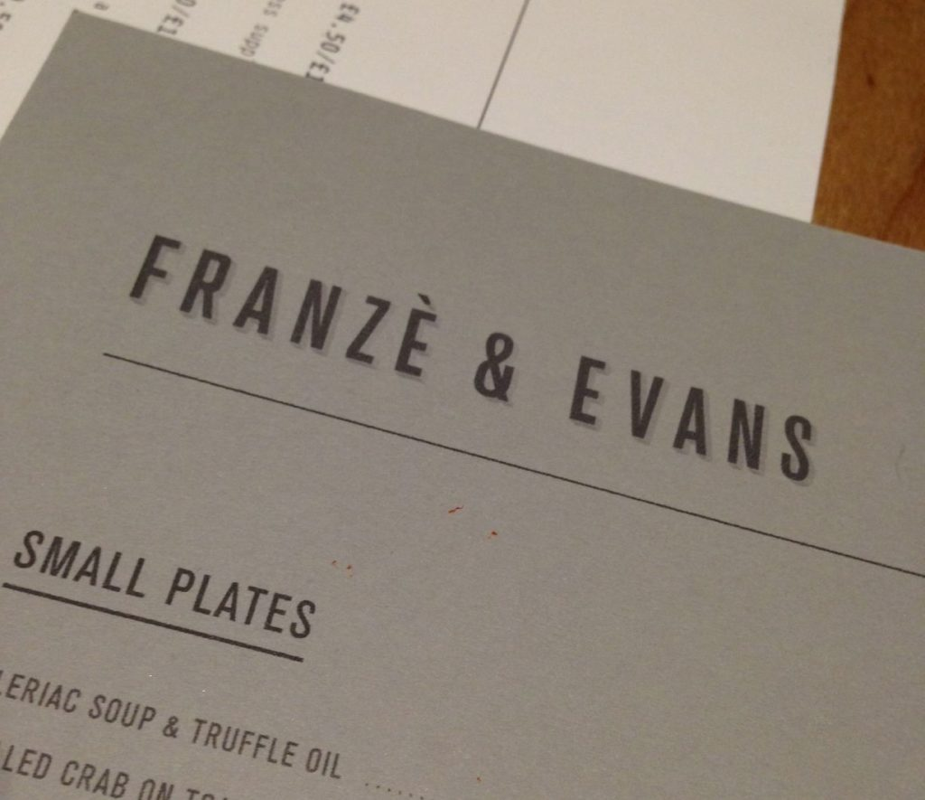 franze and evans menu