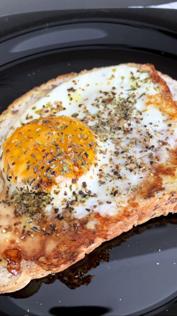 homemade runny fried egg