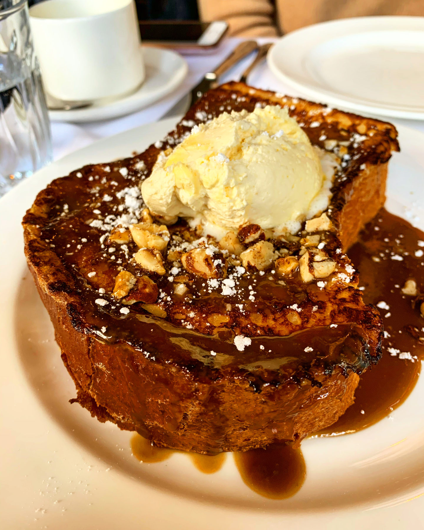 French toast, smoked butterscotch, clotted cream, pecan brittle- Bistrotheque Bethnal Green