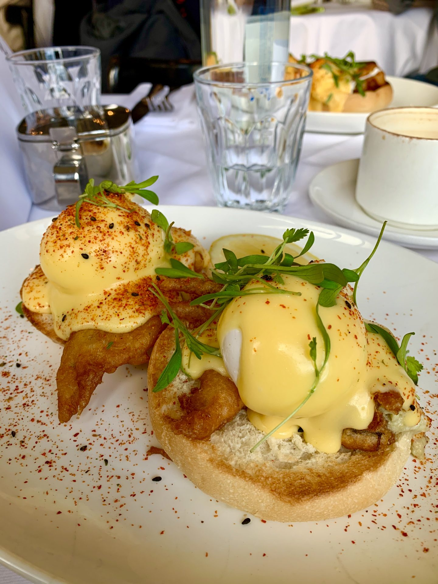 Soft shell crab benedict, spiced hollandaise- Bistrotheque Bethnal Green
