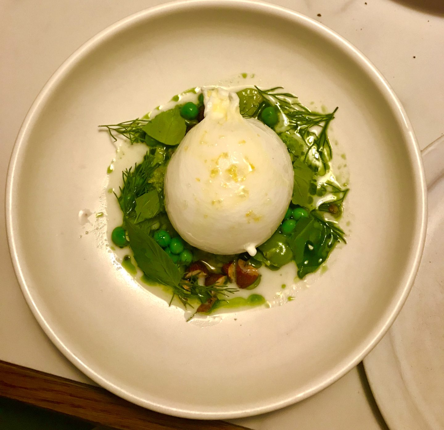 Burrata with peas, broad bean pesto and almond milk, Luca Clerkenwell