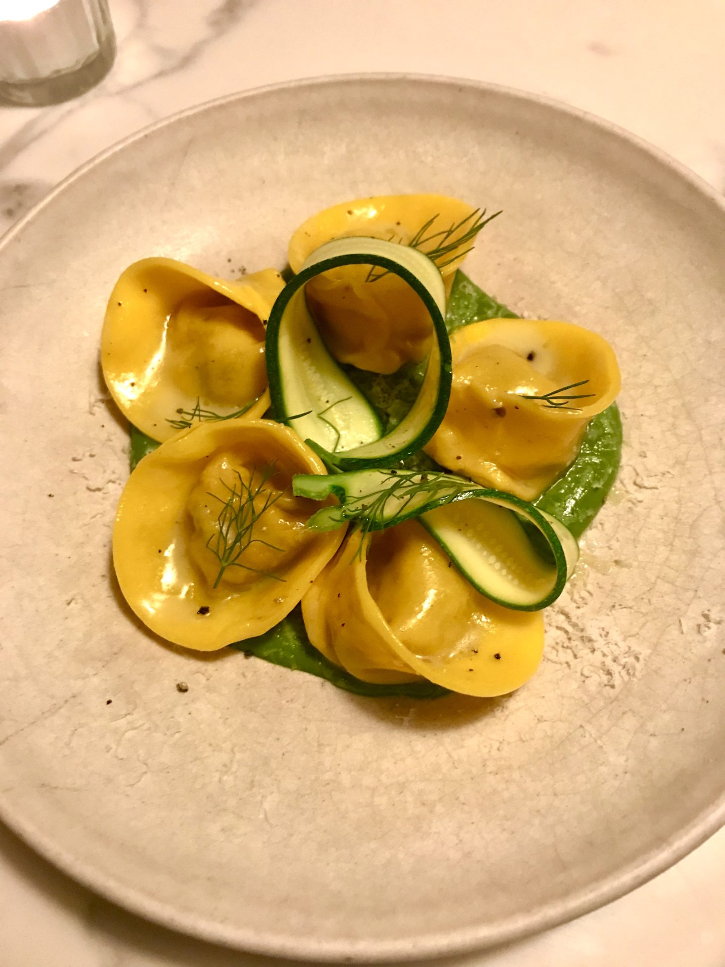 Cappelletti of barbecued vegetables with Grana Padano and courgette, Luca Clerkenwell