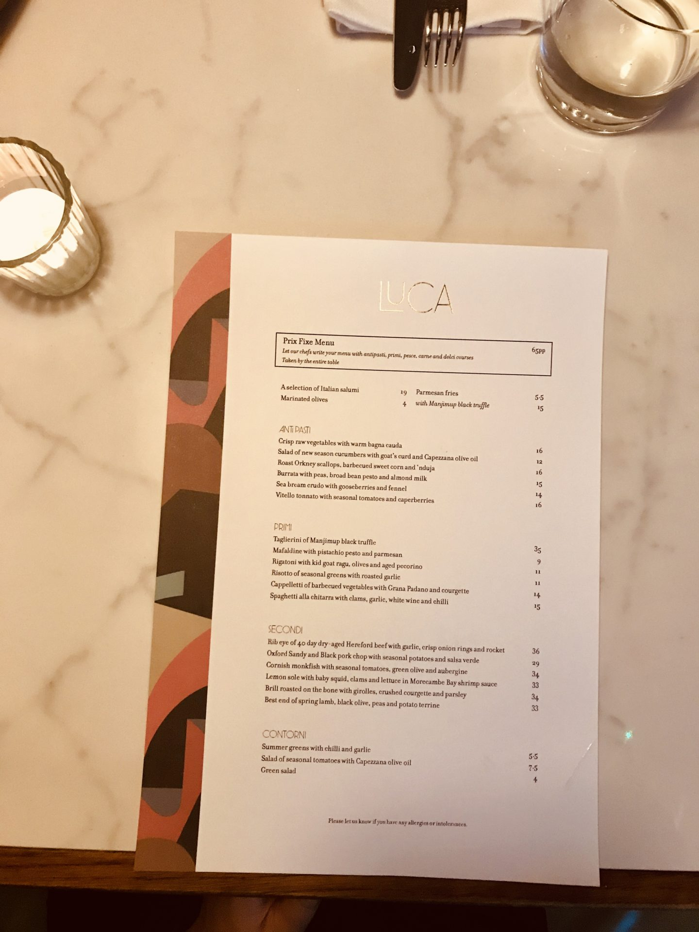 Luca, Clerkenwell menu